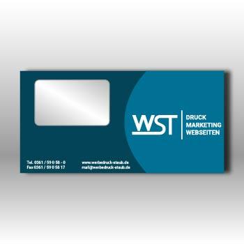 blauer Briefumschlag mit Fenster Werbedruck Staub GmbH