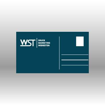 blaue Postkarte Werbedruck Staub GmbH